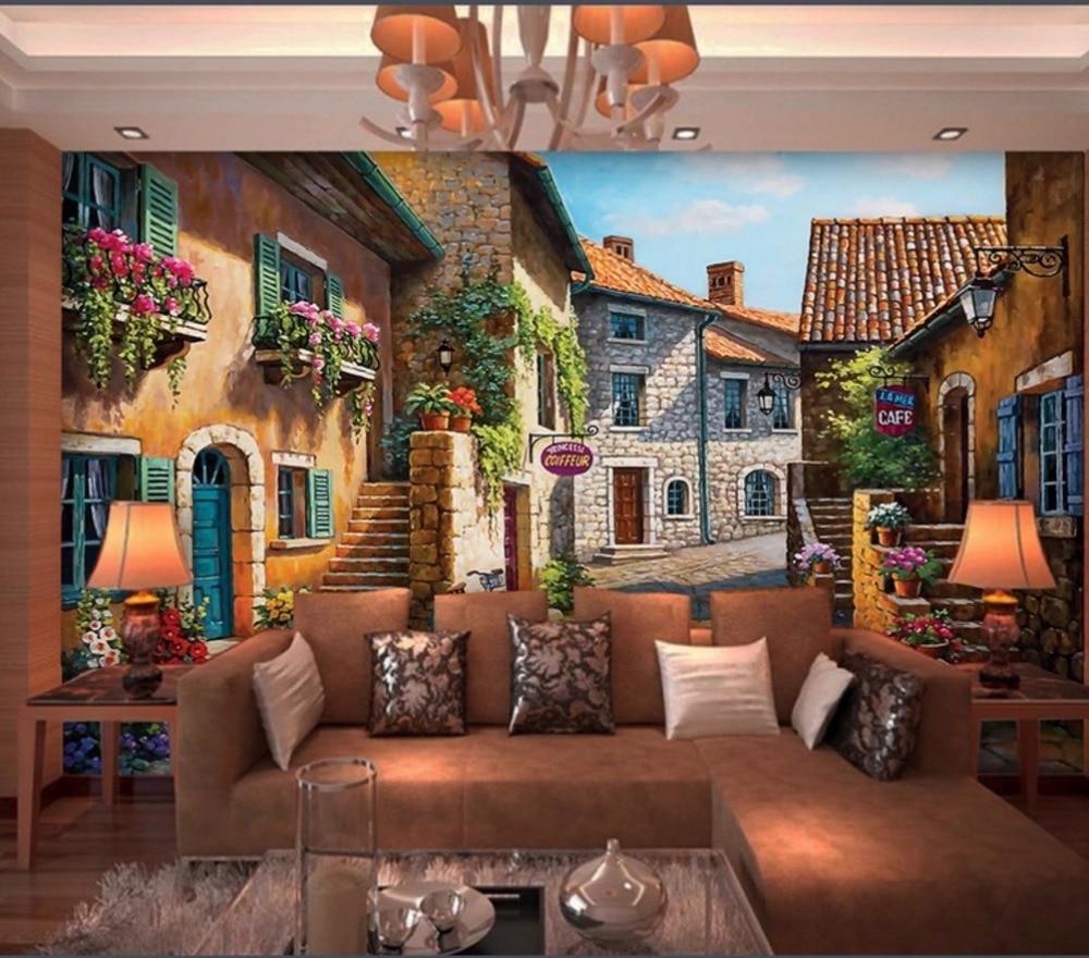 Custom 3d wallpaper European town landscape painting living room ...