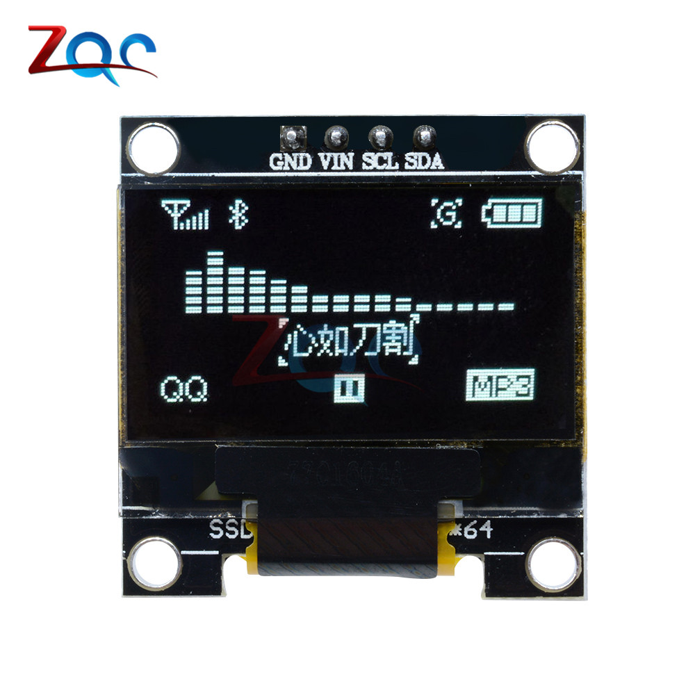 0.96 inch IIC Serial White OLED Display Module 128X64 I2C SSD1306 12864 LCD Screen Board ...