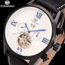 2016 FORSINING часы люксовый бренд мужчины черный автоматические Механические турбийон мужской моды наручные часы дата кожа