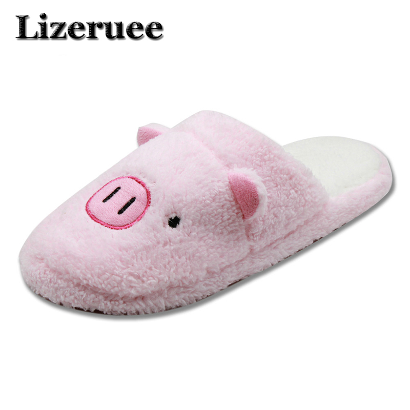 New Arrival Women Cute Pig Home Floor Soft Stripe Slippers Female Comfortable Cotton-padded Warm Slippers Shoes Q44