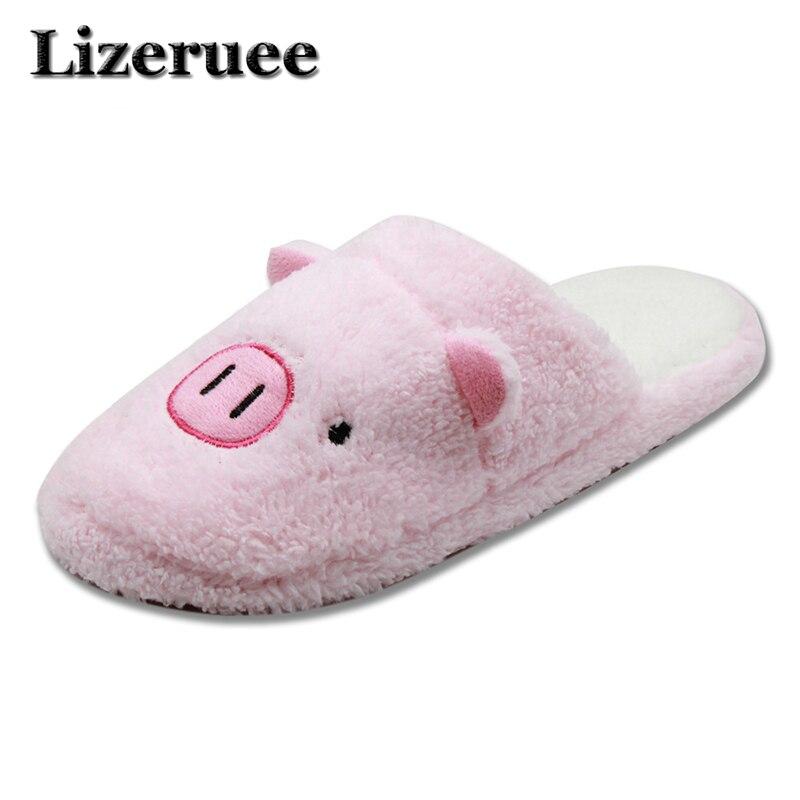 AU/_ Slippers Home Cartoon Winter Women Indoor Plush Soft Shoes Warm Floor Men Cu