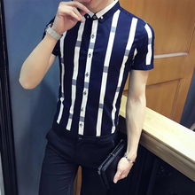 Pattern stripe shirt men 2018 summer men fashion short sleev