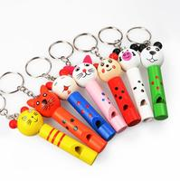 Fly AC lovely wooden small animal whistle key toy for children birthday gift 20pcs/set
