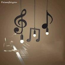 Feiemfeiyou A Z kelimeler müzik karakter e27 yaratıcı siyah Led kolye lamba Bar yatak odası kitaplık sarkıt aydınlatma