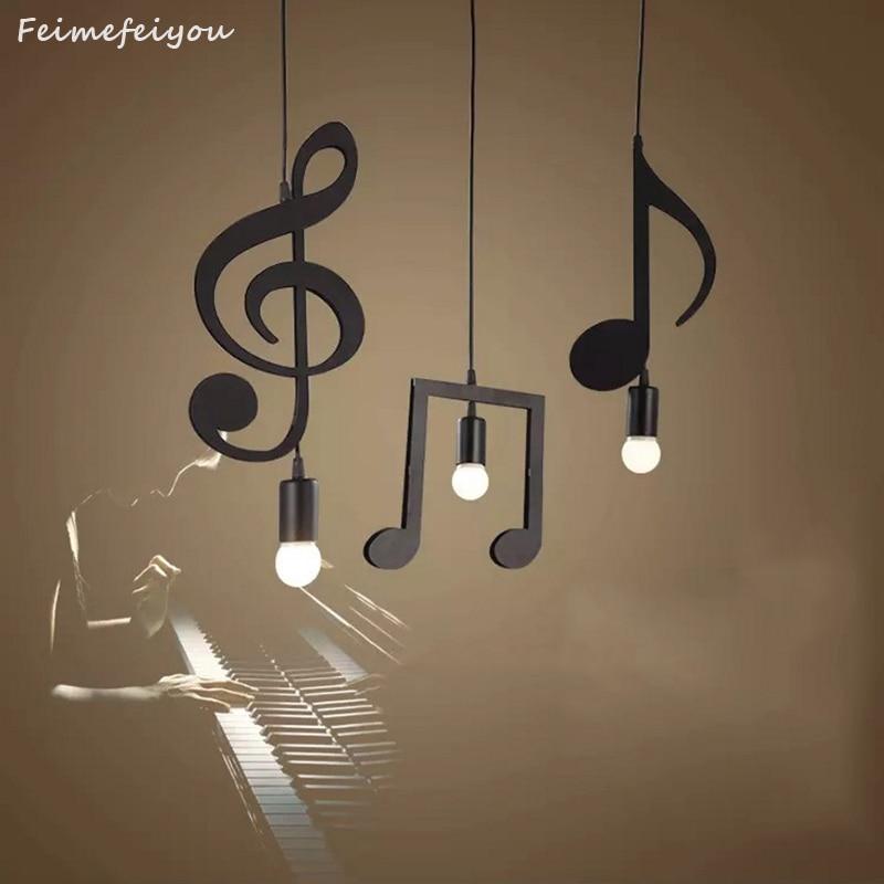 Feiemfeiyou A-Z Words Music Character E27 Creative Black Led Pendant Lamp For Bar Bedroom Bookroom Pendant Lighting