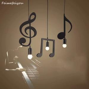 Image 1 - Feiemfeiyou A Z words Music character e27 Creative Black Led Pendant Lamp for Bar bedroom bookroom Pendant Lighting