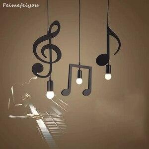 Image 1 - Feimfeiyou A Z słowa postać muzyczna e27 kreatywny czarny wisiorek Led lampa dla Bar sypialnia bookroom lampa wisząca