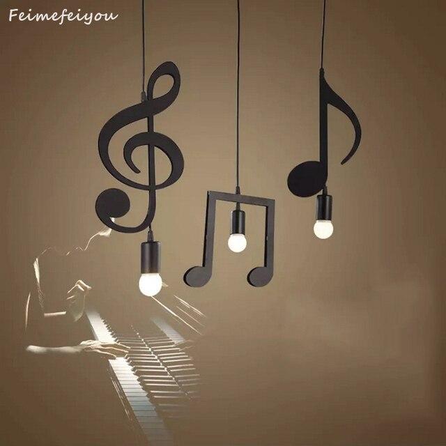 Feimfeiyou A Z słowa postać muzyczna e27 kreatywny czarny wisiorek Led lampa dla Bar sypialnia bookroom lampa wisząca
