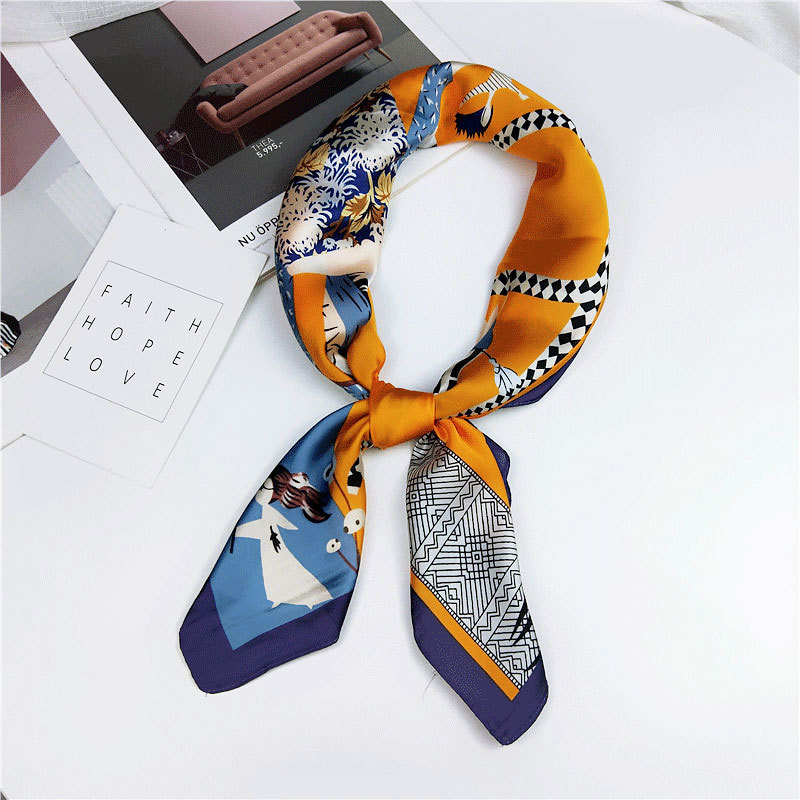 Hot Sale Silk Scarf Women Satin Soft Flower Printing Square Scarfs Handkerchief Crumple Crinkle Bandana