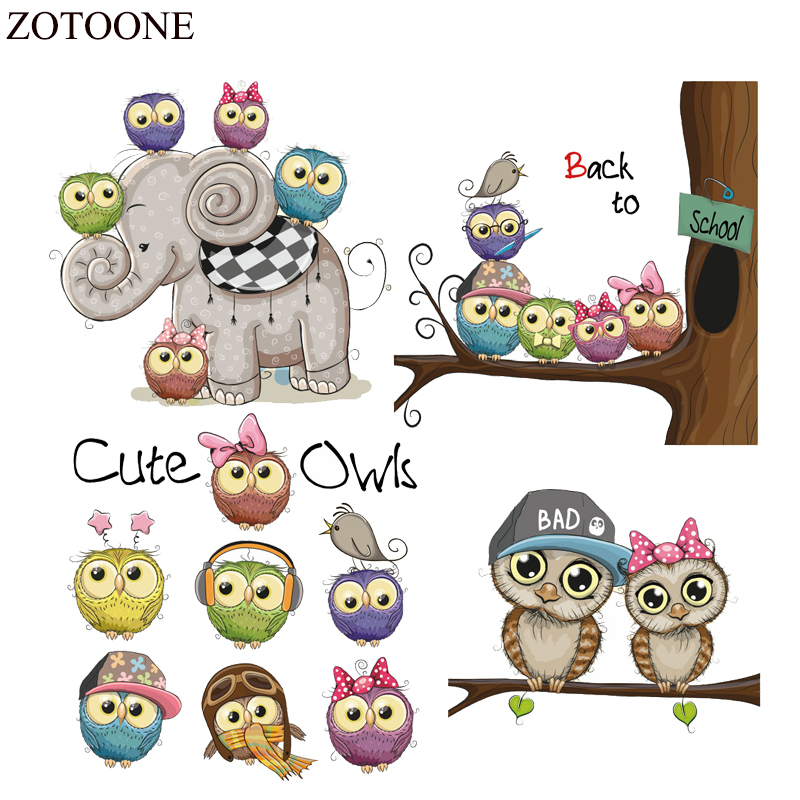 ZOTOONE Cute Owl Patch Iron On Transfers for Kids Clothing Applique Heat Vinyl Cartoon Animal Patches Accessory E