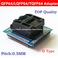 Frete grátis QFP64 TQFP64 LQFP64 tomada adaptador IC socket test queima 0.5 m assento programador QFP64