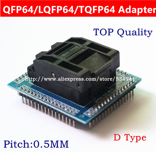 شحن مجاني QFP64 TQFP64 LQFP64 محول مأخذ التوصيل IC اختبار المقبس حرق 0.5 متر مبرمج STM32 QFP64 المقبس