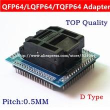 free shipping QFP64 TQFP64 LQFP64 socket adapter IC test socket burning 0.5m programmer STM32 QFP64 socket
