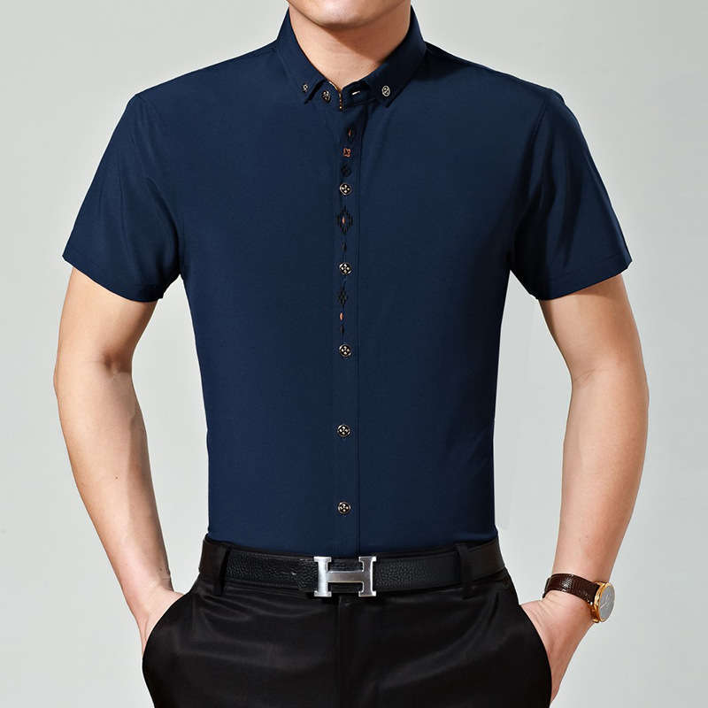 8a415f0b15ac New Summer Men Office Embroidery Designs Solid Color Short Sleeve Dress  Shirt-in Casual Shirts from Men's Clothing on Aliexpress.com | Alibaba Group