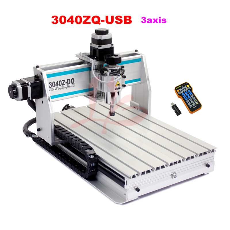 Russia tax free  Mini CNC 3040z-dq 3 axis USB port small engraver machine with remote controller russia tax free cnc woodworking carving machine 4 axis cnc router 3040 z s with limit switch 1500w spindle for aluminum