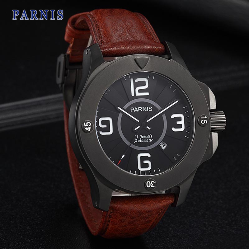 47mm Parnis Stainless Steel Watch Men Pvd Case Sapphire Crystal Black Dial PA6035 Automatic Movement Mechanical Wristwatch