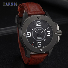 47mm Parnis Stainless Steel Watch Men Pvd Case Sapphire Crystal Black Dial PA6035 Automatic Movement Mechanical