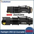 SK68 linterna 2000LM Impermeable LED Linterna Antorcha 3 Modos de zoomable del Foco Ajustable Linterna Luz Portátil uso AA 14500
