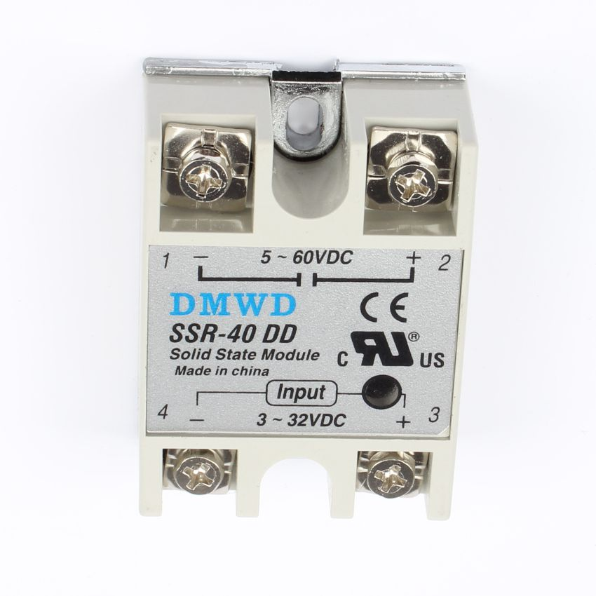TOP BRAND DMWD SSR-40DD 40A  solid state relay actually 3-32V DC TO 5-60 DC SSR 40DD H relay solid state High quality 5 60vdc to 3 32vdc 40a ssr 40dd solid state relay module with plastic cover