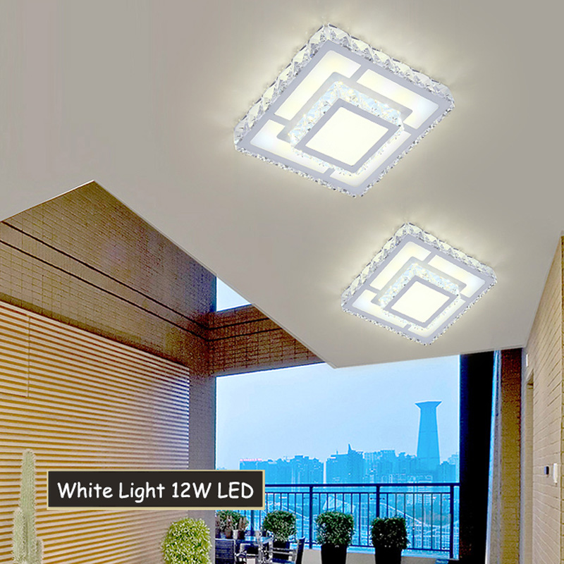 Modern Square LED Crystal Flush Mount Light Creative ...