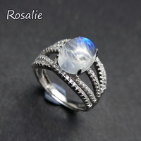 Rosalie,925 sterling silver natural gemstone 3ct strong blue light rainbow moonstone women Ring fine jewelry with jewelry box