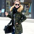 Плюс размер Женская одежда 2016 зимняя куртка пальто женщин большой меховой воротник средней длины ватные куртки Army Green верхняя одежда куртка