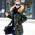 Mujeres de talla grande ropa 2016 chaqueta de invierno mujeres de gran cuello de piel medio-largo wadded prendas de vestir exteriores de la chaqueta Verde Del Ejército parka