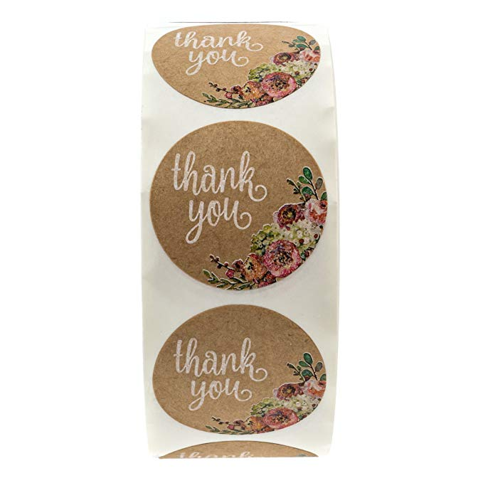 500Pcs roll kitchen accessories Brown Kraft Floral Thank You Stickers wedding decoration gift tags lables 1 quot Circle Labels in Party DIY Decorations from Home amp Garden
