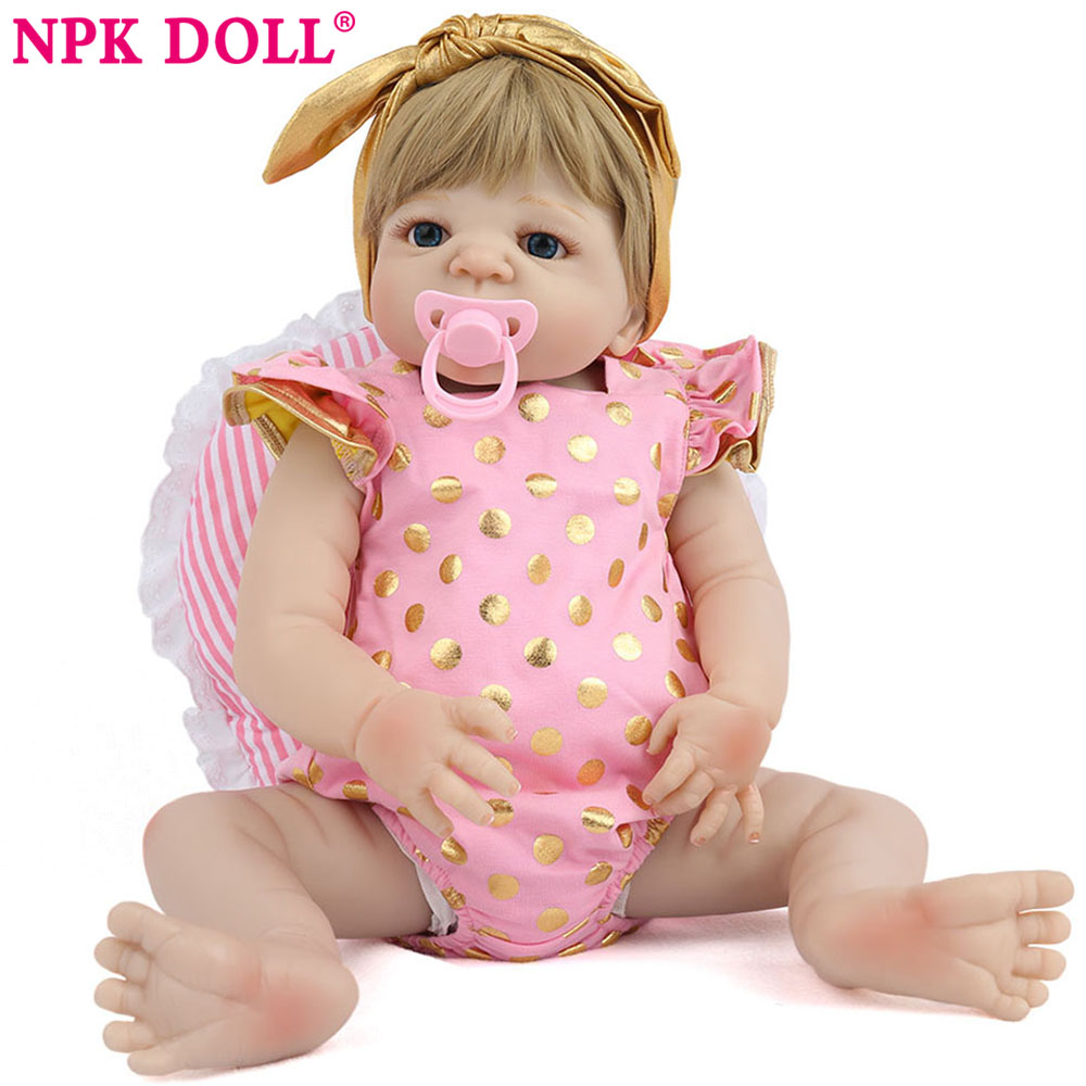 NPK DOLL 52 cm bebe reborn doll with soft silicone girl body baby newborn solid cheaper price reborn baby toys for girl newborn npkcollection55cm soft silicone newborn baby doll with eyes closed simulation to accompany sleep toys silicone reborn baby doll
