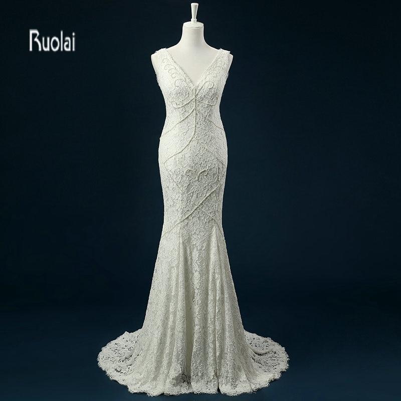 vestido de noiva čipka sirena vjenčanica 2018 bez rukava v vrat biseri plaža vjenčanice otvorena leđa svadba haljina