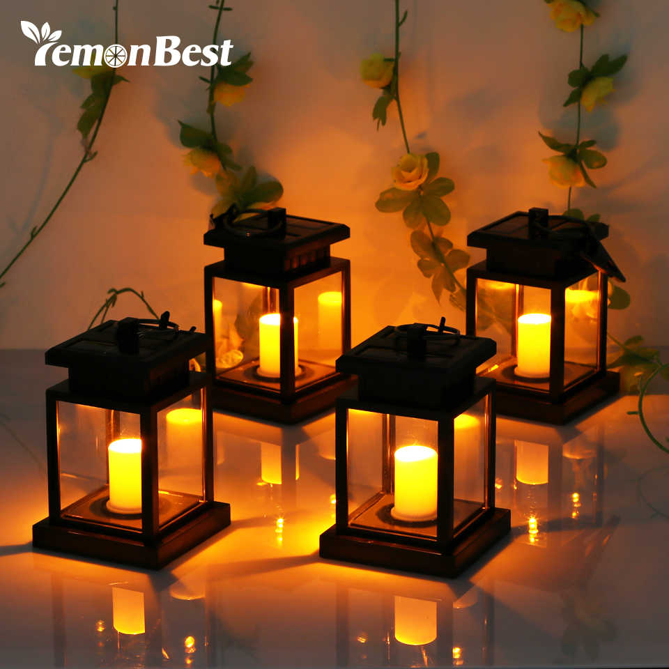 4pcs Waterproof LED Solar Garden Light Flickering Flameless Candle Outdoor Lighting Hanging Smokeless Solar Lantern for Camping