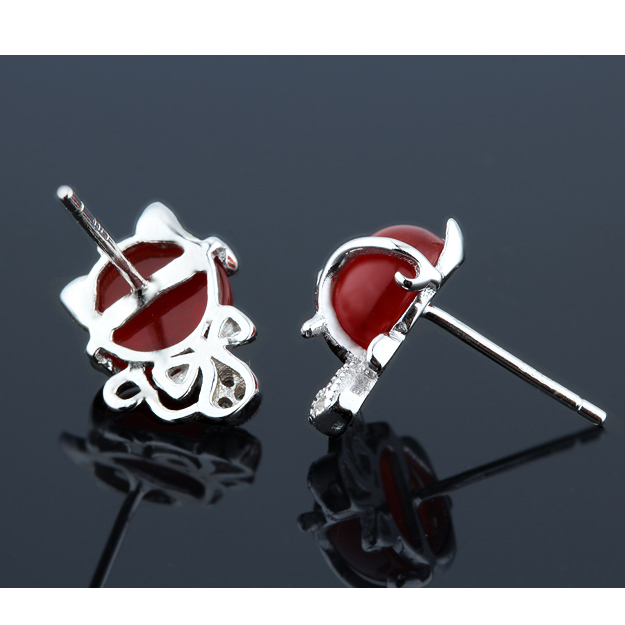 Sterling Silver 925 Jewelery Stud Earrings 2018 Woman Animal Fox Cat Bowknot White Gold Red Green Agate Crystal Originality 1set