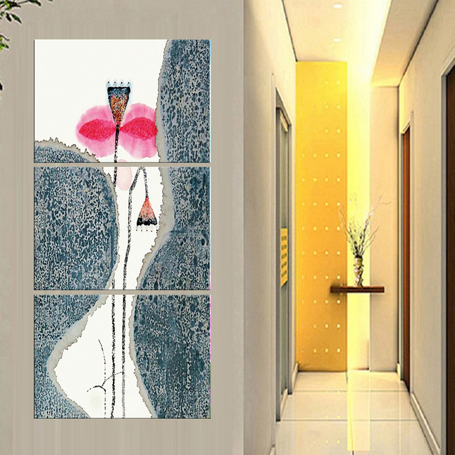 3 Pieces Home Decor Hd Printed Modern Canvas Painting Abstract Lotus