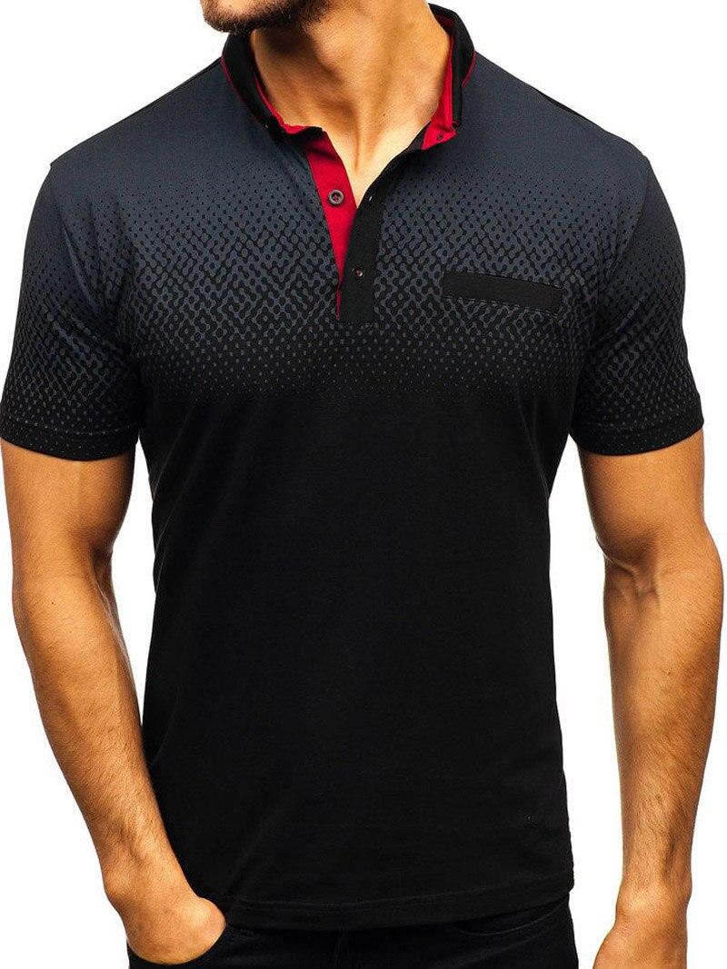 Brand men Summer short sleeve 3D print 95%cotton high quality Casual fashion polo shirt stand collar Button Male