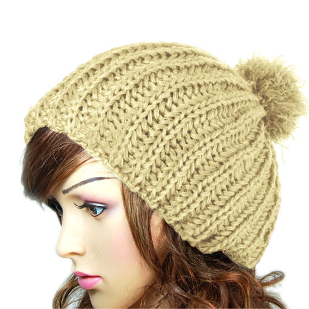 Hot Fashion New Winter Women Ladies Warm Wool Crochet Knitted Beanies Knit Slouch Baggy Cap Fur Pompom Hat bonnet femme 2017 new women ladies cable knitted winter hats bonnet femme cotton slouch baggy cap crochet beanie gorros hat for women