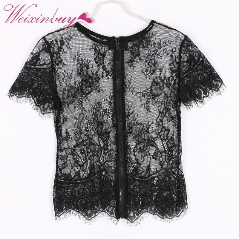 Sexy Lace Look Through See Net Yarn Women Blusas Femininas Short Sleeve Back Zipper O Neck Vintage Blouse  Crop Top 2018 Summer