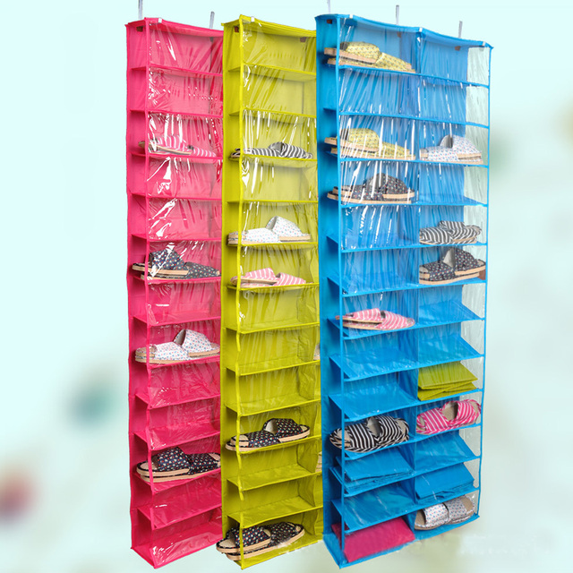 Closet Ware Clear Over The Door 26 Pocket Shoe Organizer Washable Polyester  Shoe