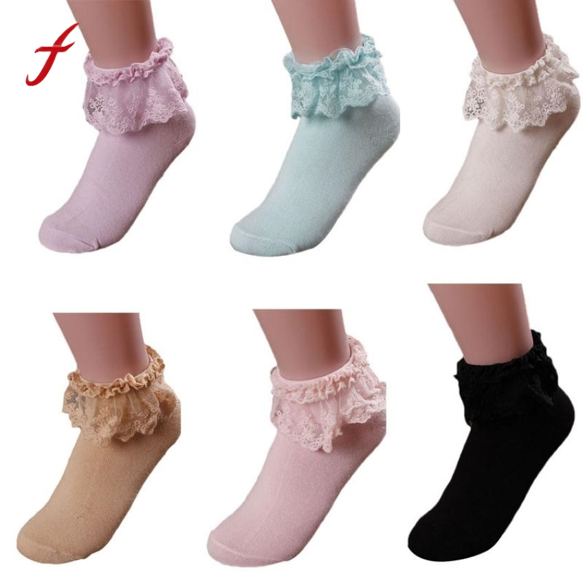 1 Pair 6 Colors Womens Socks Princess Girl Cute Socks Sweet Ladies Vintage Lace Ruffle Frilly Ankle Socks Popsocket Meias Highly Polished Women's Socks & Hosiery