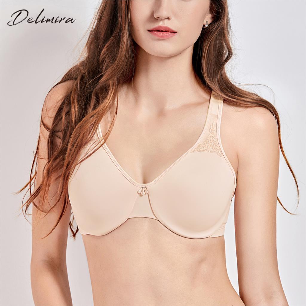 6728e7608cd1e Delimira Women s Smooth Plus Size Full Figure Underwire Seamless Minimizer  Bra C D E F free shipping worldwide