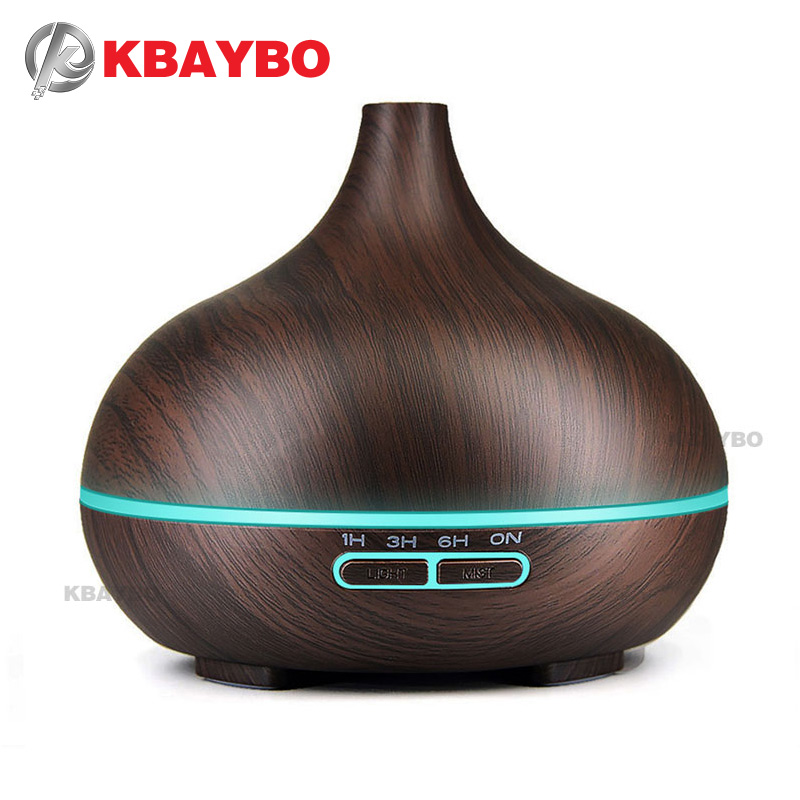300ML Ultralyd Aromaterapi Luftfugter Essential Olie Diffuser Air Purifier DarkWood Mist Maker Aroma LED Light