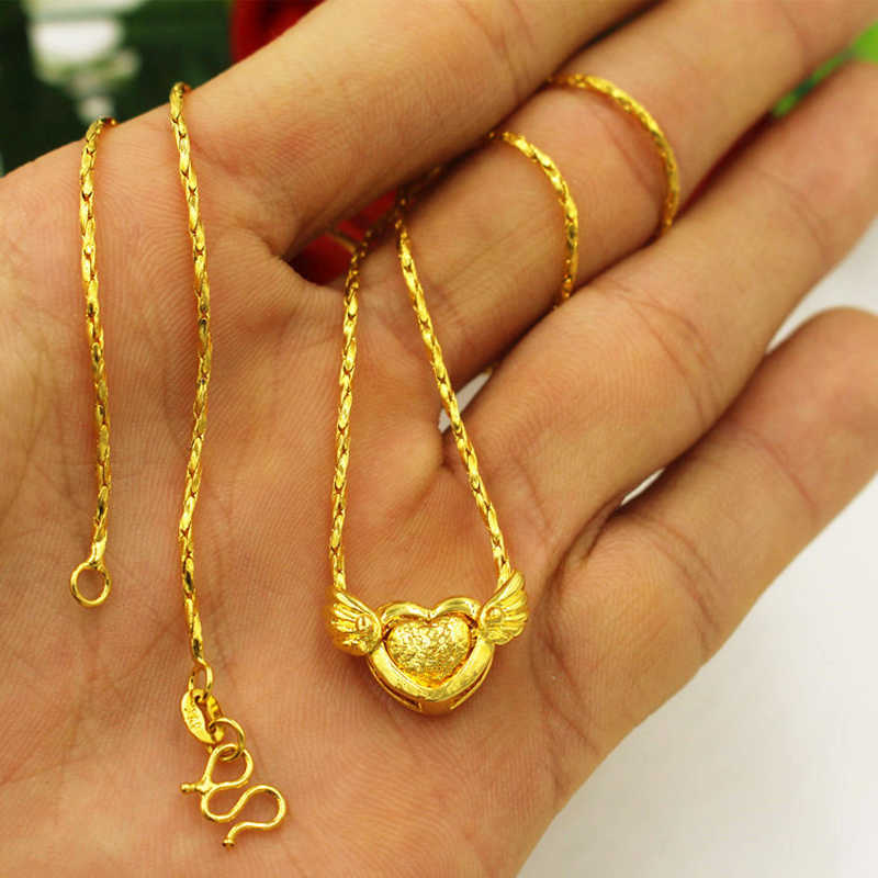 24K Gold Filled pendant Necklaces for women, pure Gold color lovely flying heart necklace women wedding jewelry