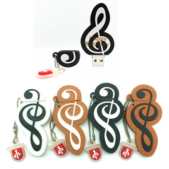 (over 10 PCS) Free LOGO customized Usb Flash Drive Cute Note Musique Usb Flash Pen Drive Musical notes 8GB/16GB/32GB  Flash Disk