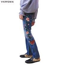 VERSMA 2017 Korean Style GD Butterfly Embroidery Biker Jeans Pants Men Women Boyfriend Jeans Denim Vintage Flare Pants Men Women