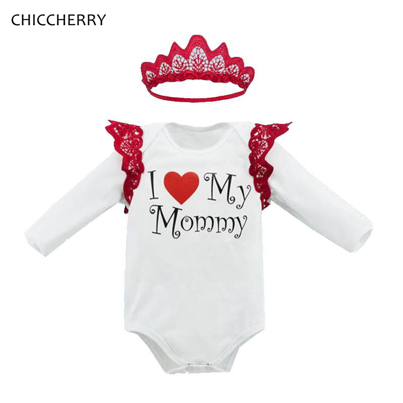 New Arrival Newborn Girl Clothes Mothers Day Outfits Crown Baby Bodysuit + Lace Headband Set Body Bebe Menina Toddler Jumpsuit