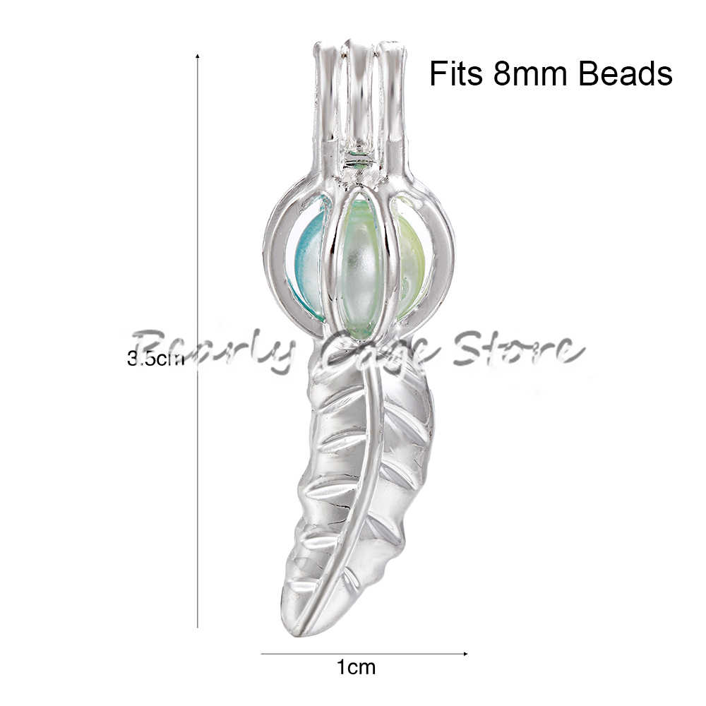 10 pcs Silver Plated Leaf Feather กรงไข่มุกลูกปัด Cage Essential Oil Diffuser Charms จี้เครื่องประดับจี้ทำ Oyster Pearl