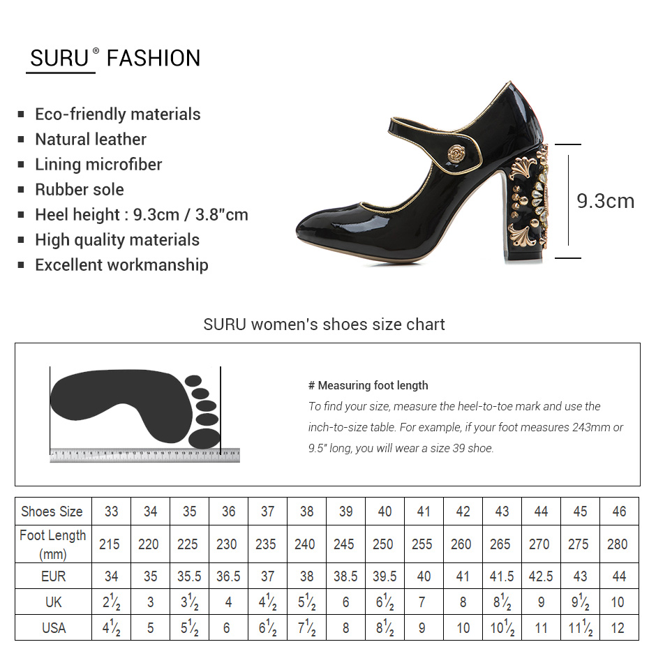 d24ca73d7 SURU Vintage Jeweled Clock Heel Mary Jane Pump Luxurious 93mm Block Heels  Patent Leather Pumps Lady Party Shoes Black / Gold-in Women's Pumps from  Shoes on ...