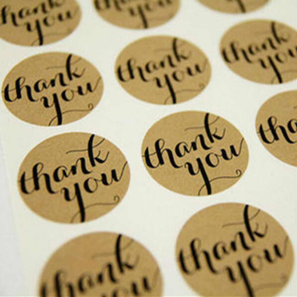 12 Pcs THANK YOU Circle Design Kraft Sticker Paper Labels Seal Gift Stickers Cooking Bread Coffee Kraft Paper Seals