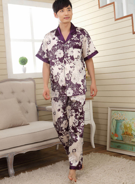 dfc82dd61359a5 US $12.35 5% OFF|men sleepwear mens pajamas faux silk male sleepwear men  pyjamas men's satin pajamas mens pajama sets men loungewear homewear-in  Robe ...
