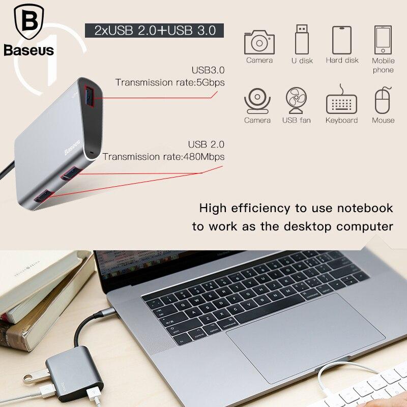 Baseus USB Type C 3.1 Hub for Type C to USB 3.0 and 2 USB 2.0 High Speed Type C USB Splitter HUB for MacBook Type-C HUB Adapter
