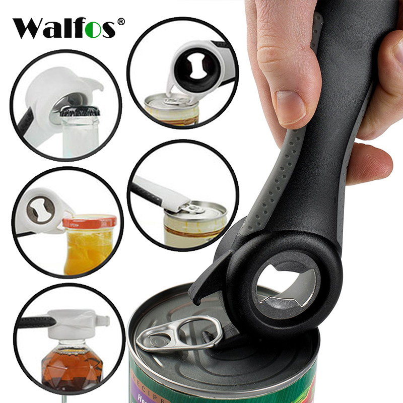WALFOS Stainless Steel Can Opener 5 In 1 Creative Multifunction Beer Bottle Opener Super Good Jar Opener Kitchen Tool